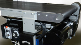 Belt conveyor with a Bodine 42A-FX gearmotor and WPM speed control.