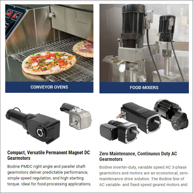 Gearmotors for Commercial Food Equipment
