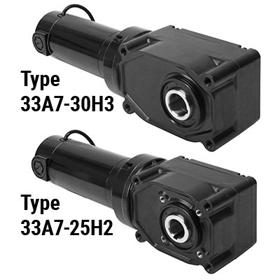 Hypoid Series 33A7 DC Right Angle Hollow Shaft 130V, 24V & 12V Gearmotors