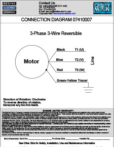 Connection Diagram for 230VAC, 3-Wire, Reversible, 3-Phase Gearmotors and Motors 07410007