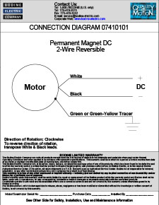 Connection Diagram for PMDC Stock Gearmotors and Motors 07410101