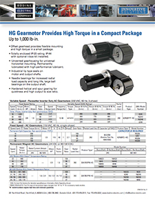 Type HG Gearmotors Provide High Torque in a Compact Package