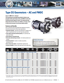 High-Torque Type CG, AC and PMDC Gearmotors - up to 1000 lb-in