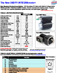 Connection Information for INTEGRAmotor 34B/FV Gearmotors and Motors 07481078