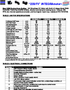 Connection Information for INTEGRAmotor 22B/FV Gearmotors and Motors 7401072