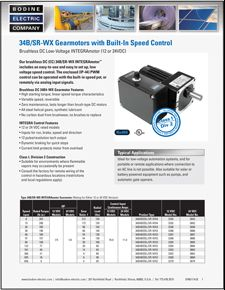 12/24VDC, 34B/SR-WX, CI/D2 Brushless DC Gearmotors with Speed Control